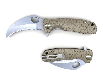 HONEY-BADGER-FOLDING-KNIFE-SERRATED-CLAW-BLADE-TAN
